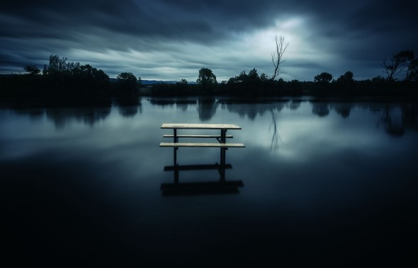The Smith Park picnic area becomes part of Pugh's Lagoon on the Hawkesbury River floodplain during flood.