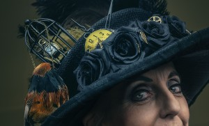 Detail work of the Steampunk outfit adorning the elegant Mayor of Lithgow Maree Statham. Photo: David Hill, Deep Hill Media